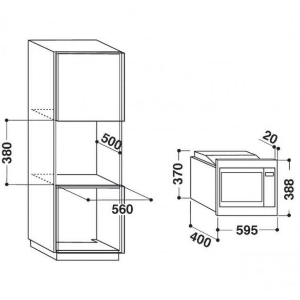 Whirlpool AMW 1601/IX Beépíthető mikrohullámú sütő