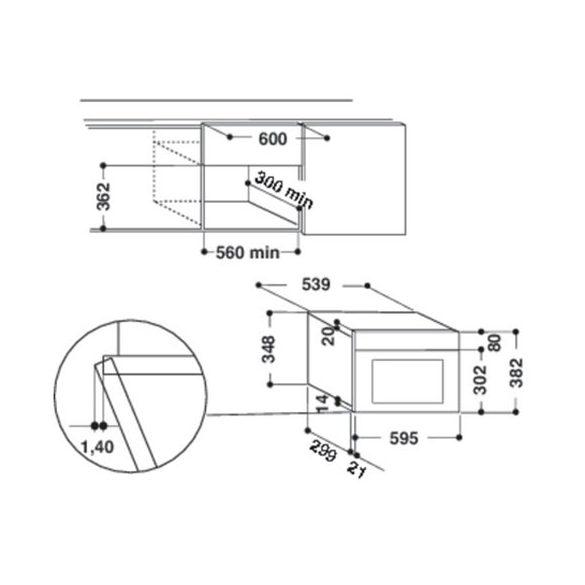 Whirlpool AMW 435/IX Beépíthető mikrohullámú sütő
