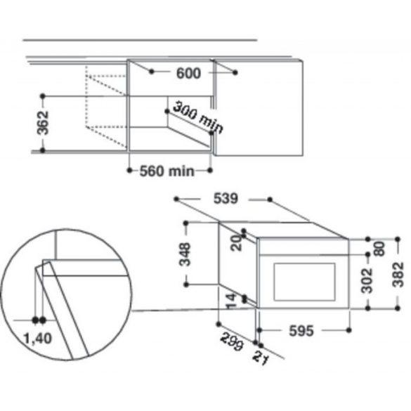 Whirlpool AMW 439/IX Beépíthető mikrohullámú sütő