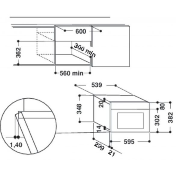 Whirlpool AMW 439/WH Beépíthető mikrohullámú sütő