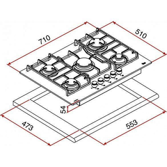 Teka CGW Lux 70 5G AI AL TR CI Beépíthető gázfőzőlap