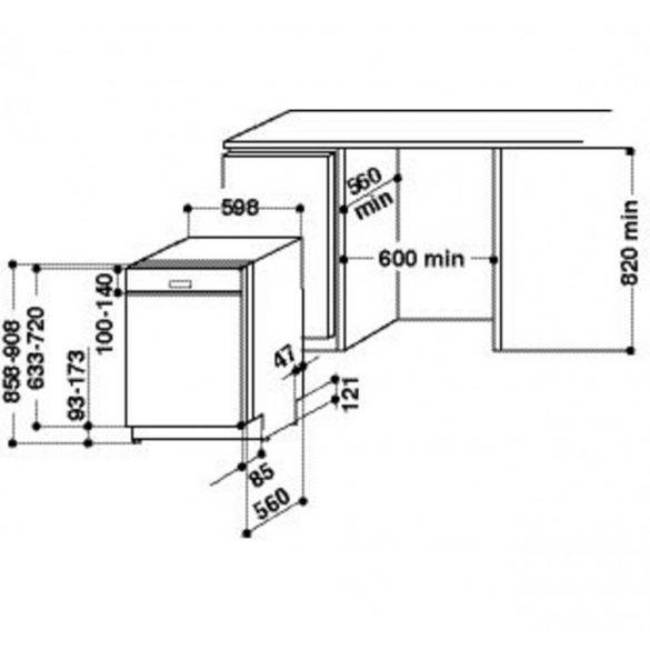 Whirlpool WBC 3C26 PF X Beépíthető mosogatógép
