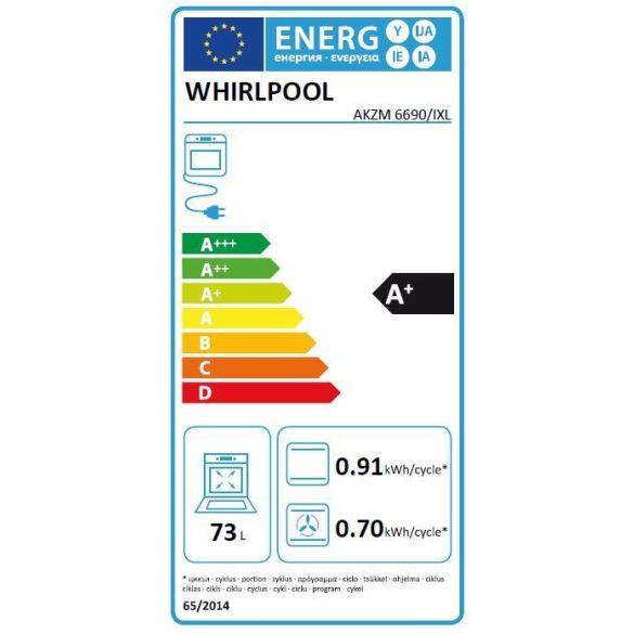 Whirlpool AKZM 6690/IXL Pirolitikus beépíthető sütő