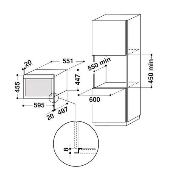 Whirlpool AMW 698/IXL Beépíthető kompakt sütő és mikrohullámú sütő
