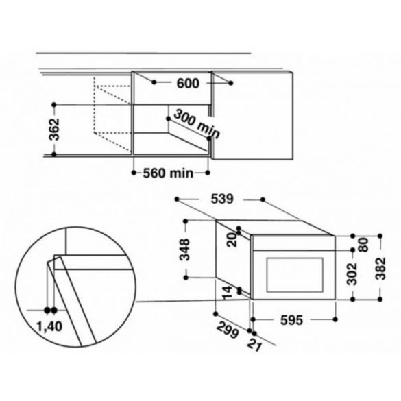 Whirlpool AMW 901/NB Beépíthető mikrohullámú sütő