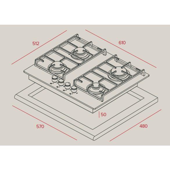 Teka CGW Lux 60 4G AI AL CI Beépíthető gázfőzőlap