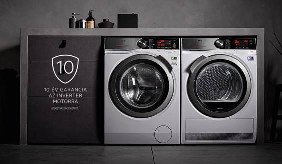 10 év garancia az AEG mosógépek, szárítógépek és mosó-szárítógépek inverter motorjára.