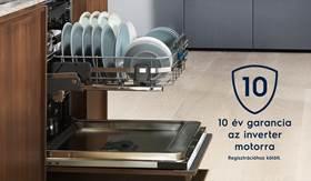 10 év garancia az Electrolux mosogatógépek inverter motorjára